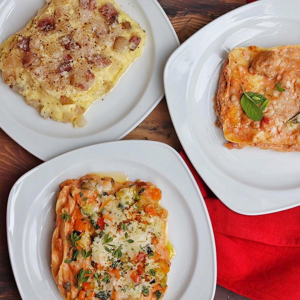 3 piatti di lasagne: carbonara, vegetariana, al ragù